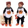 НОВАЯ Осень Мода девочка одежда unisex 2 шт. Новорожденных Детей Baby Boy Одежда Тыква Футболки Топы + Брюки Костюмы набор 0-24 М