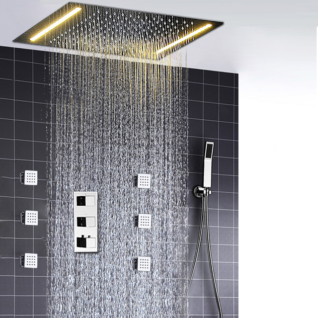Shower Ceiling Thermostat Rain Shower Faucets Set LED Electric ShowerHeads Rainfall Duchas Body Massage Shower Jets Bath Set
