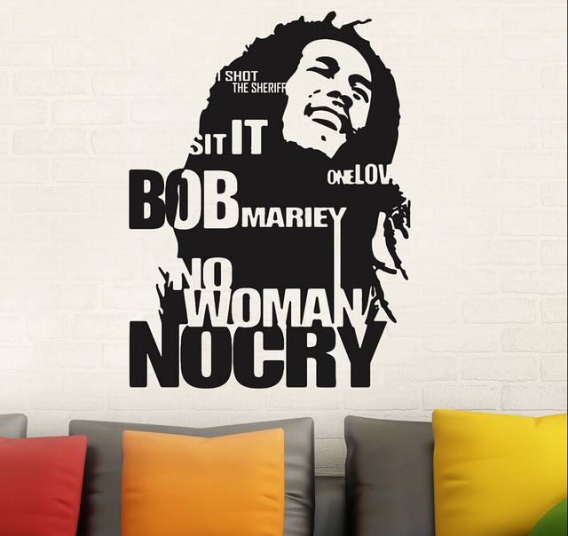 Pinturas Murais Bob Marley Wall Decal Sticker Decor Sticker No Woman No Cry  Reggae Jamaica Bedroom