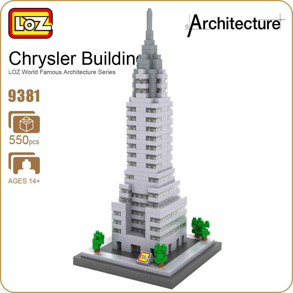 LOZ Architecture Toy Chrysler Building Model Nano Pixels Diamond Single Sale Building Blocks Bricks Toys Plastic Assembly 9381 loz diamond blocks figuras classic anime figures toys captain football player blocks i block fun toys ideas nano bricks 9548