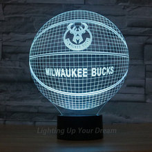 New Arrival  Milwaukee Bucks Team 3D Flash Illusion Light 7Colors Changed LED In Bedroom NBA Basketball Shape Lamp As Fans Gift