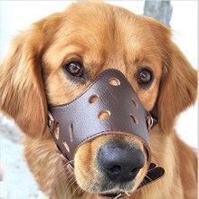 Намордник Регулируемый из искусственной кожи для собак, дышащая маска для маленьких и больших собак, мягкие намордники для тренировок