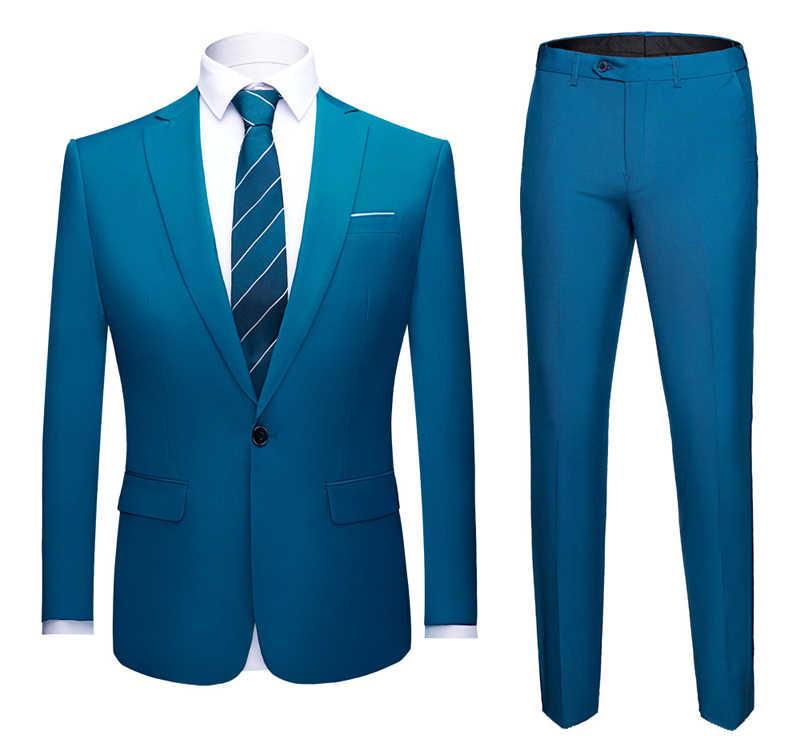 ブルー 2 ピース男性のエレガントな男性のための花婿の付添人新郎ジャケットの男性のスーツの結婚式のウエディングスーツビジネスドレススーツ男性衣装オム 6XL