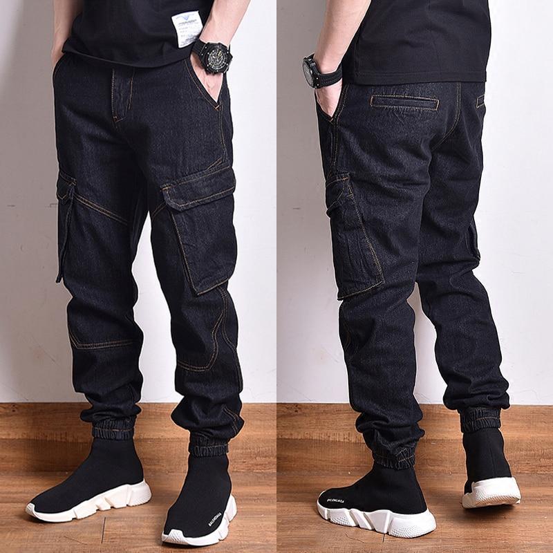 High Street Fashion Men Jeans Original Color Vintage Design Big Pocket Cargo Pants Men Japanese Style Hip Hop Jogger Jeans Homme