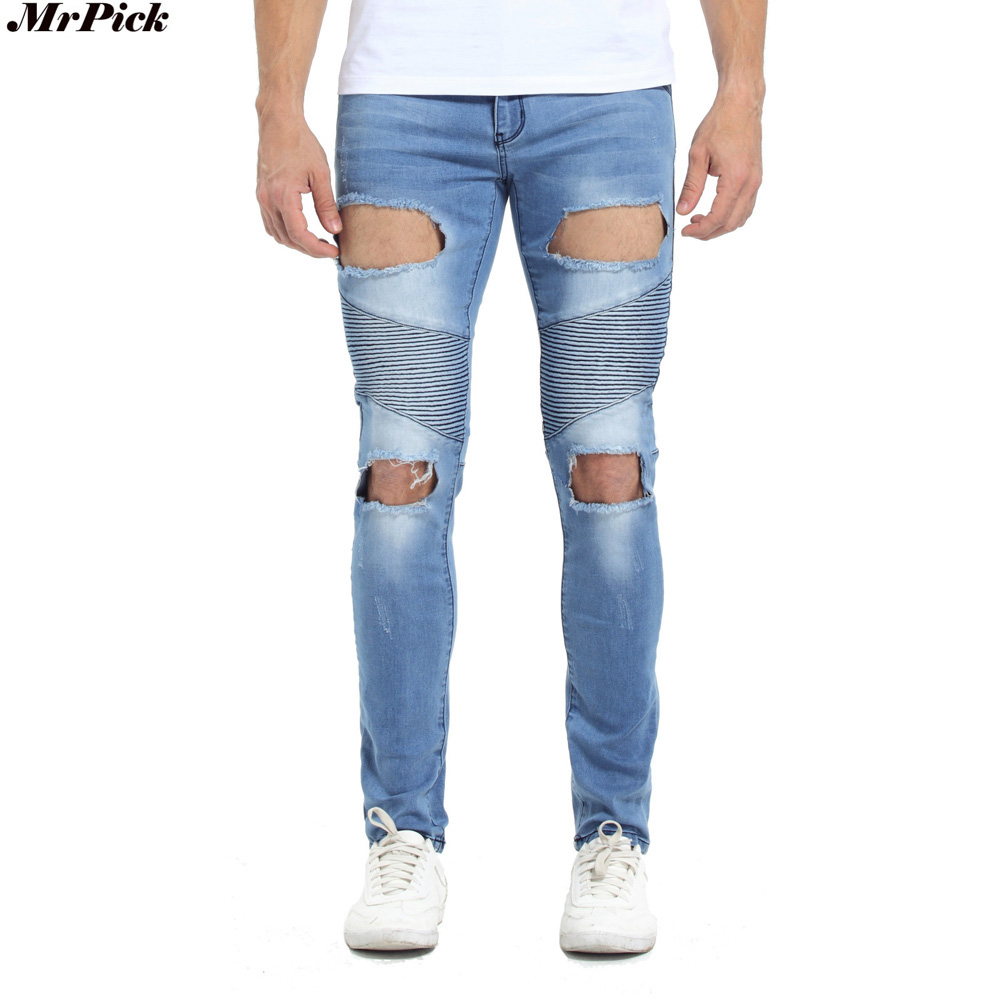 2017 Men Ripped Biker Jeans Hip Hop Urban Designer Brand Hole Destroyed Distressed Slim Skinny Stretch Denim Jeans T0277 2017 men s slim jeans pants hip hop men jeans masculina black denim distressed brand biker skinny rock ripped jeans homme 29 40