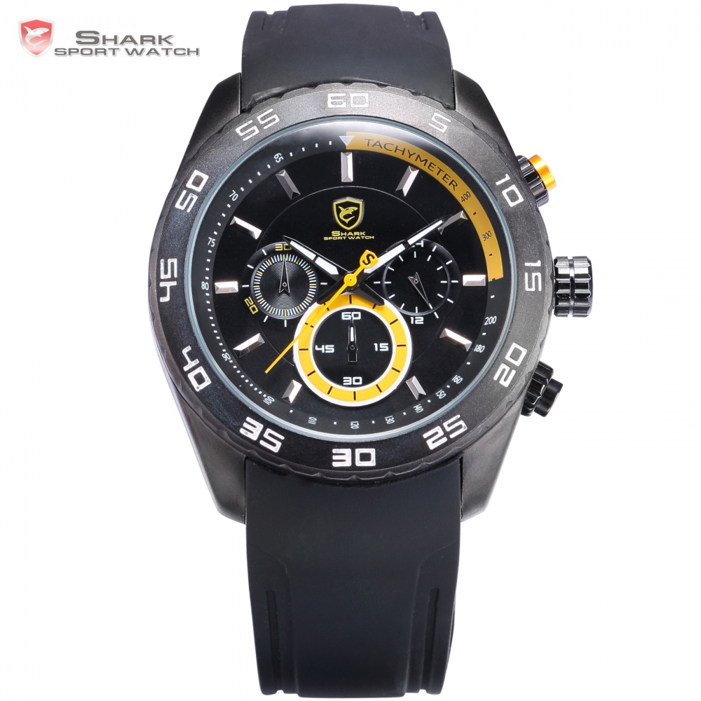 Spinner SHARK Sport Watch Waterproof Yellow 6 Hands Chronograph 24 Hours Round Black Rubber Band Mens Quartz Watches Gift /SH259 shark sport watch black relogio 6 hands