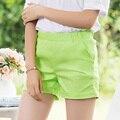 Nuevo 2017 mujeres del color del caramelo shorts casual ladies shorts venta caliente más el tamaño XXL mujeres del algodón sólido shorts femininos