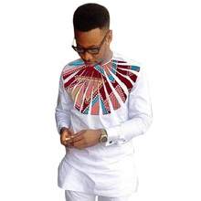 Private custom men print long sleeve dashiki shirts mens patchwork african clothes o-neck tops of africa clothing