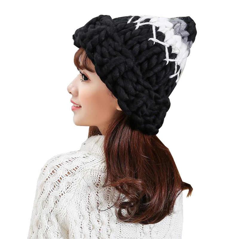 a2a9408f7a09 LERFEY теплые кепки разноцветные повседневная женская обувь осень зима  шапки ручной ...