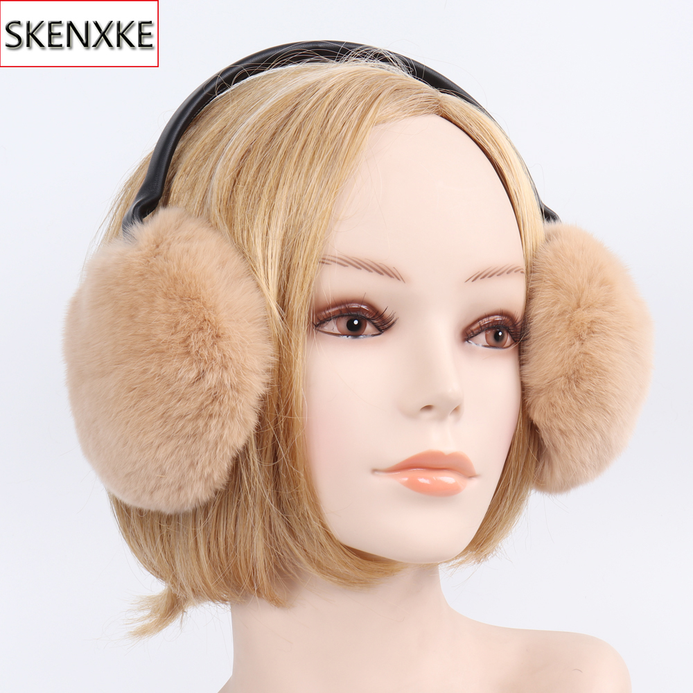 Winter Women Handmade Genuine Rex Rabbit Fur Earmuffs Lady Warm Rex Rabbit Fur Plush Ear Muff Fluffy 100% Natural Fur Earlaps
