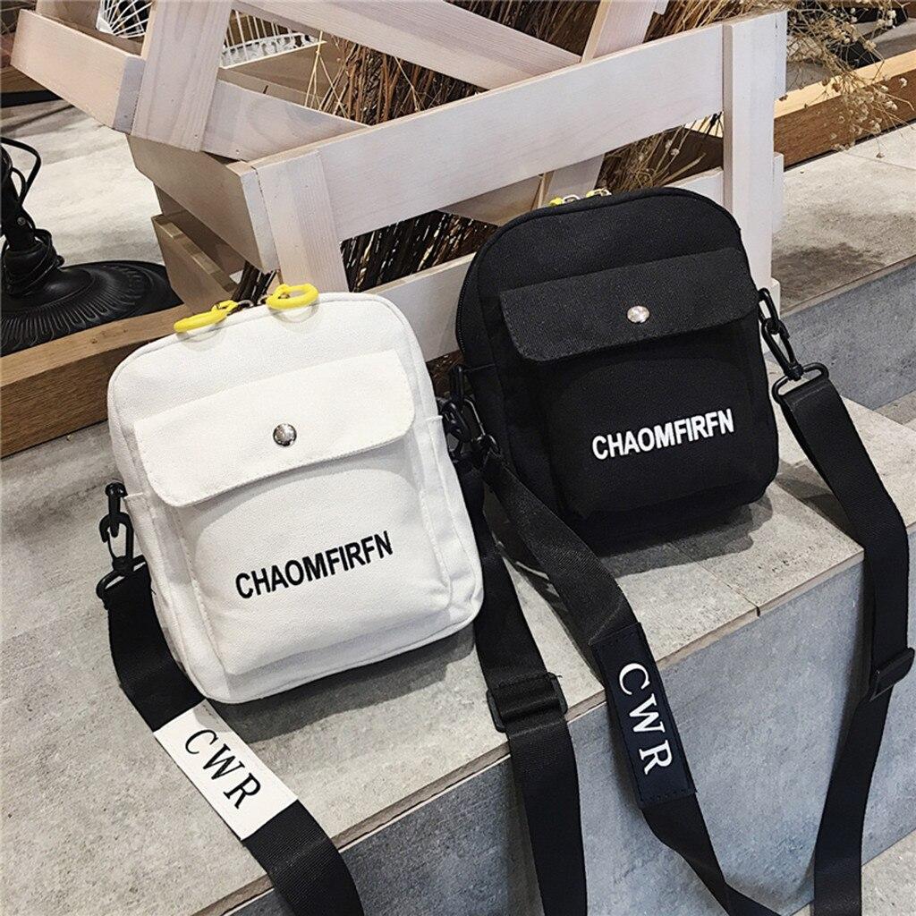 Crossbody Bag For Women Pure Color Casual Tote Outdoor Bag Canvas Handbag Zipper Shoulder Small Messenger Bag Womens Handbags