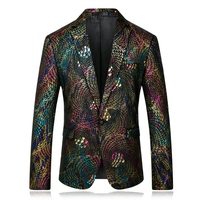 shiny Gold Sequin Glitter Embellished Blazer Jacket Men Nightclub Prom Suit Costume Homme Stage Clothes For Singers