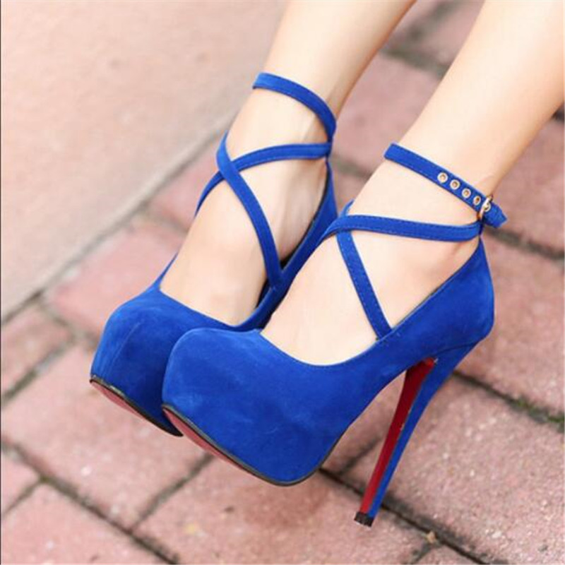 Hot Fashion New high-heeled shoes woman pumps wedding party shoes platform fashion women shoes high heels 11cm suede black Size