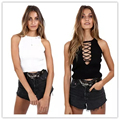 2017 Off Shoulder Tank Top Femme Sexy Knitted Cotton Crop Top Women Black White Tops Halter Cropped Hollow Out Blouses Vest
