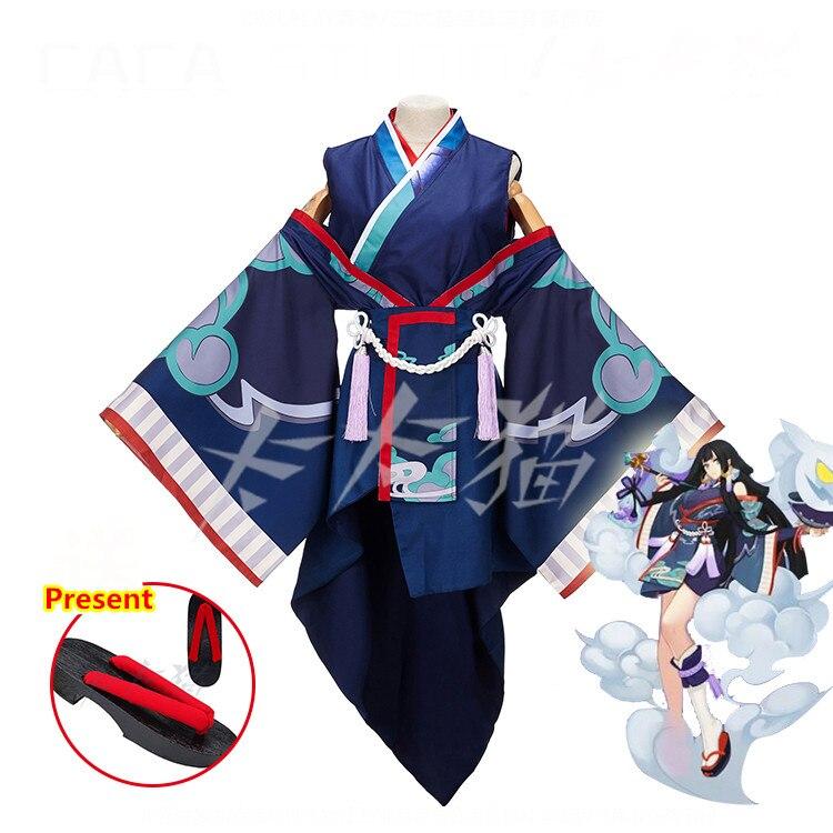 [Акция] Аниме! Игра Onmyoji рисунок призрак дым Unform Хэллоуин косплэй костюм кимоно + парик кольца Новый 2018 Бесплатная доставка