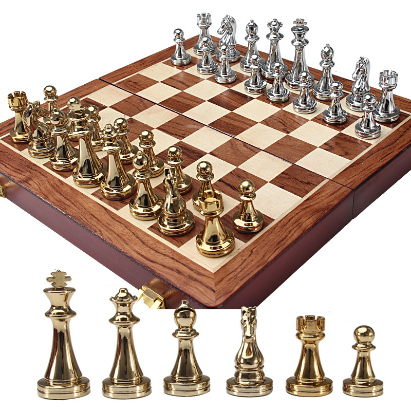 BSTFAMLY kirsite chess set, portable game of international chess, wooden folding chessboard king height 67mm chess game, LA47