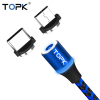 TOPK R-Line3 LED Magnetic Cable Micro USB & USB Type-C Cable For Samsung Xiaomi Huawei LG USB Cable for iPhone Xs Max 8 7 6 Plus Mobile Phone Cables
