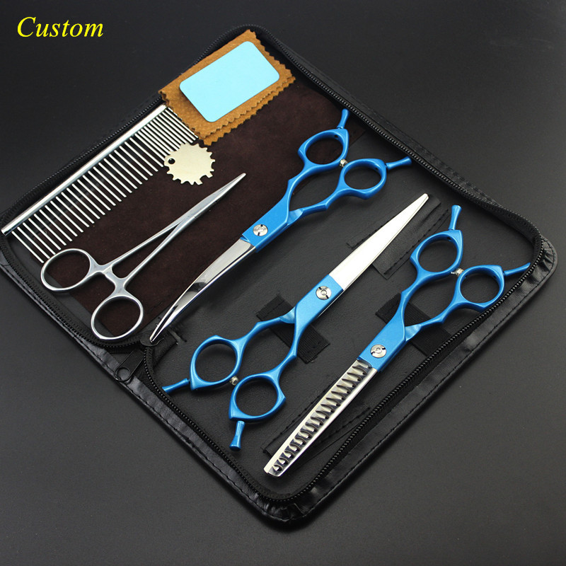 Custom 5 kit japan steel 6.5 inch blue Pet dog grooming hair scissors cutting shears pet thinning barber hairdressing scissors 8 inch pet thinning scissors shears dog pet grooming scissors dog cat hair cutting tools groomer animal clippers