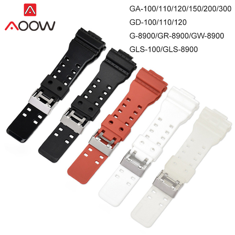 16mm High Quality PU Watchband For Casio G-Shock GA-110 GA-100 GD-100 Men Sports Waterproof Replacement Bracelet Band Strap Red