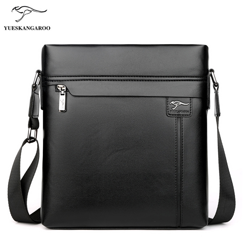 YUES KANGAROO Men Bag Leather Shoulder Bags Fashion Messenger Bags High Quality Casual Crossbody Bag Business Men's Briefcase yues kangaroo brand men bag leather casual high quality shoulder crossbody bags classical business briefcase mens messenger bag