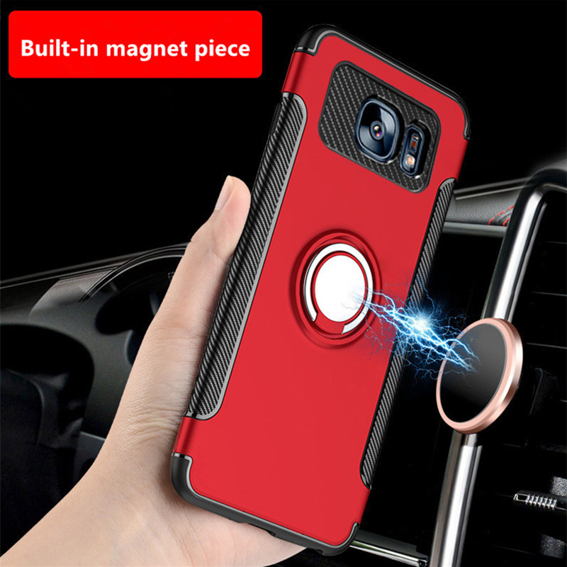 EMIUP Luxury Case For Samsung Galaxy S7 Edge S7 S8 Case Metal Ring Holder Combo Phone Cover For Samsung S8 S8 Plus Phone cases