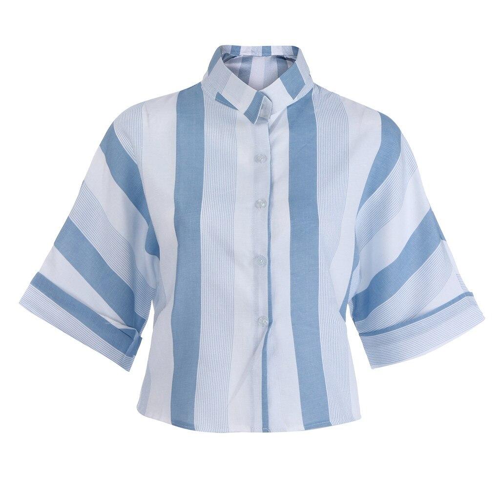 SAGACE Women's   Shirt   Summer   Blouse   Casual Plus Size   Shirt   Tops Short Sleeve Striped Top Casual   Blouse     Shirt   Female Tops Summer