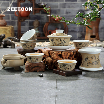 9PC Sets Japanese-style Vintage Coarse Pottery Kung Fu Tea Set Hand Painted Bamboo Tea Cup Teapot Teacup Fair Cup Tea Strainers