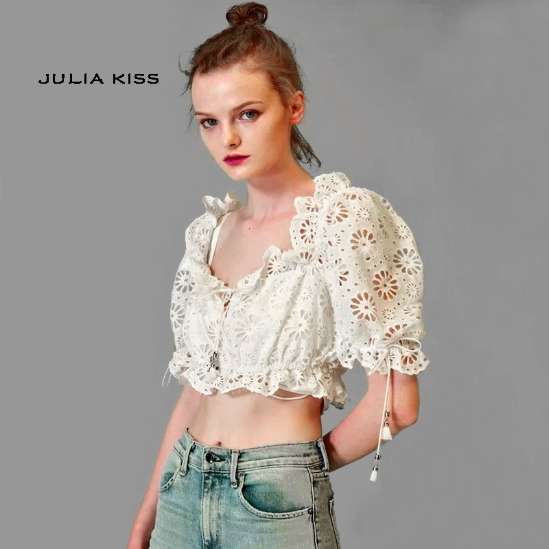 7703c48b23c8b6 Women Ruffle Trim Eyelet Embroidery Crop Top With Puff Sleeve-in Blouses    Shirts from Women s Clothing on Aliexpress.com