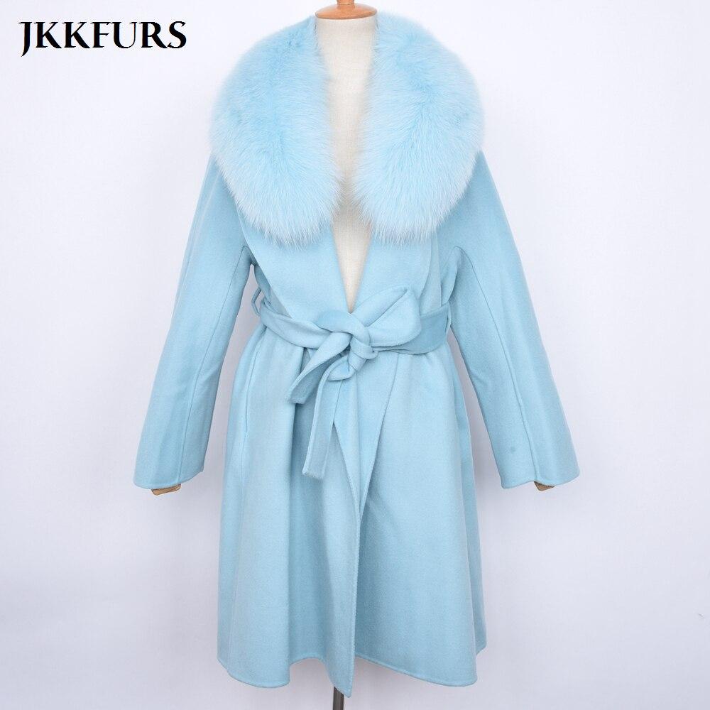 Hiver 2018 S7493 Cream De Laine Ceinture Veste pink Mode Col Femme Femmes khaki Manteau Fourrure blue Réel Cachemire Avec Fox dF7qdWZwpx
