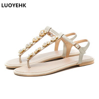 Large Size Flower Women Flat Sandals Summer Shoes Casual Beach Shoes Woman Sandals