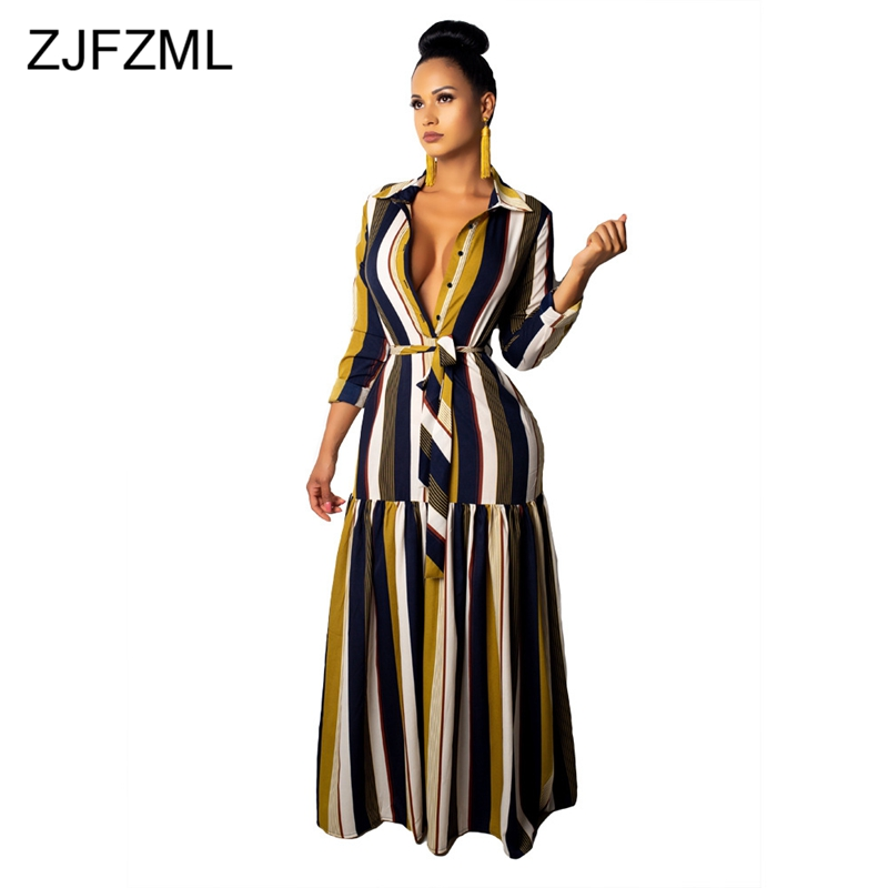 Detail Feedback Questions about Colorful Striped Sexy T Shirt Dresses Women  Turn Down Collar Long Sleeve Maxi Dress Casual Sashes Buttons Plus Size  Long ... 3bb4218650db