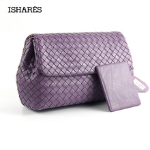 ISHARES Sheepskin Handmade Woven Handbags Luxury Genuine Leather Girls Handmade Bags Designer High Quality Flap Pocket IS8003