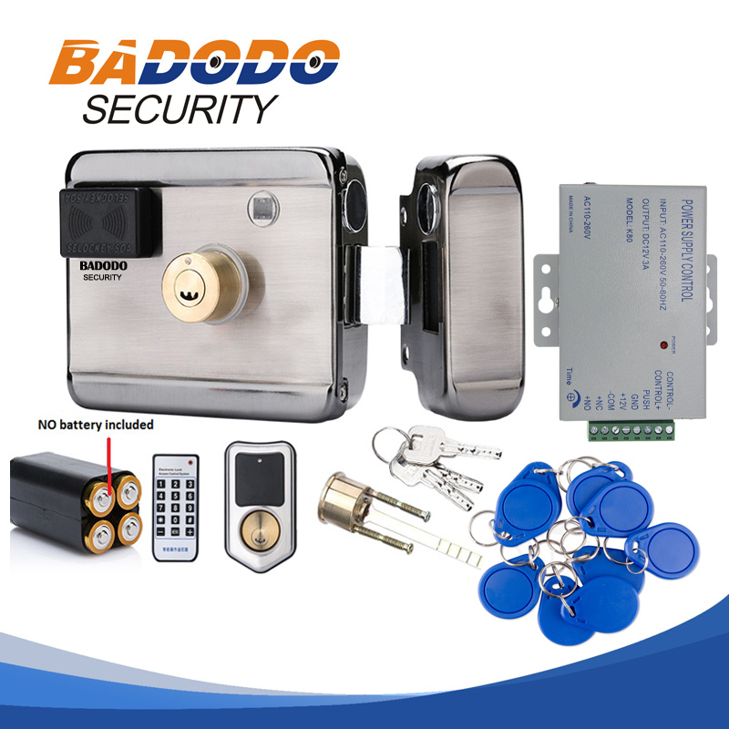 With Optional Adapter DC12V Electronic Integrated RFID Reader Rim Lock For Door Intercom Access Control With 10 Keyfob 13.56MHZ