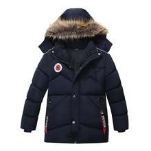 Inverno Quente Gola de Pele Espessamento Longo Casaco Criança Crianças Outerwear À Prova de Vento Forro Polar Bebê Meninos Casacos Para 100 120cm