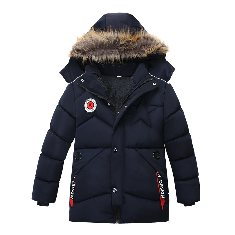 Winter Warm Thickening Fur Collar Long Child Coat Children Outerwear Windproof Fleece Liner Baby Boys Jackets For 100-120cm