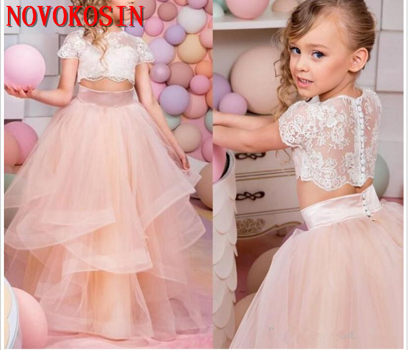 2019 Vintage Back Open   Flower     Girl     Dresses   For Wedding Ball Gowns Lace Tulle Sleeveless   Girls   Pageant Birthday Party   Dress
