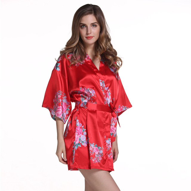 Red Plus Size Chinese Women s Satin Nightgown Short Robe Gown New Style Kimono  Bathrobe Sexy Floral Night Dress Sleepwear M48-in Robes from Underwear ... fc1460482