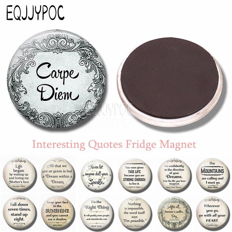 3PCS Carpe Diem (seize the Day) 30 MM Fridge Magnet Inspirational Refrigerator Magnets Sticker Round Glass Kitchen Home Decor