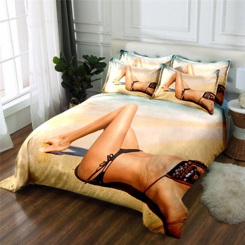 Neue Produkt sex dame 3D gedruckt 4 Stücke Bettwäschesatz Mikrofaser Bettwäsche Bettwäsche Bettbezug Set Bettlaken - 4