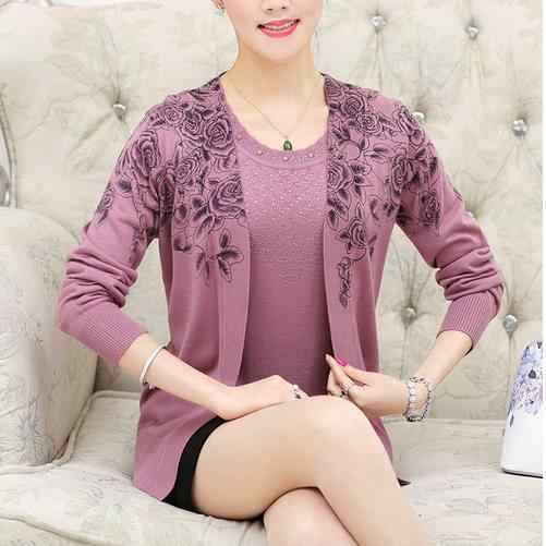 Hai mảnh poncho feminino 2018 Mùa Đông cộng với kích thước Phụ Nữ Thanh Lịch Quá Khổ tuổi trung niên blusa tricot feminina Crochet Áo Len WQ861
