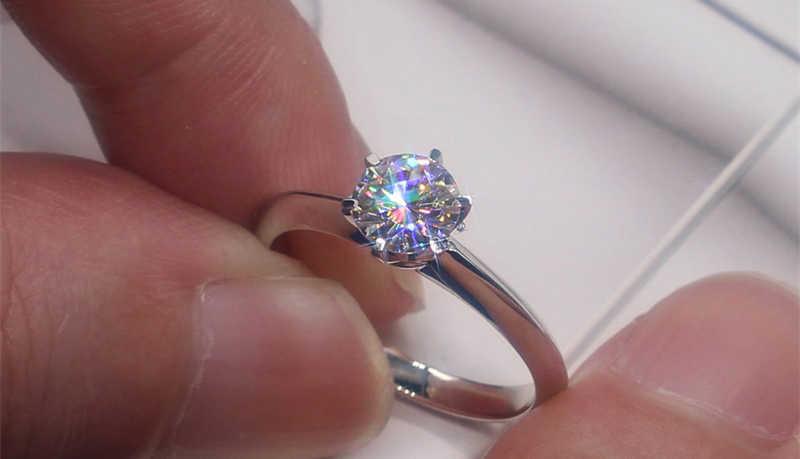 สูญเสียเงิน 99% OFF! เครื่องประดับธรรมชาติ 925 แหวนเงิน Solitaire 6mm 1ct Sona Cz งานแต่งงานแหวน RL003