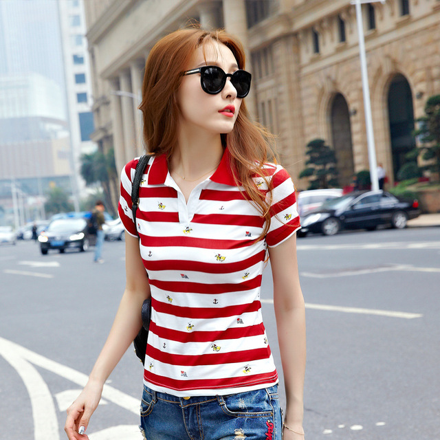 Summer Short Sleeve Red Polo Striped Tops For Women Causal Plus Size Polo Woman camiseta polo feminina ladies poloshirts B005