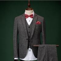 Mens Suits With Pants Mens Light Grey Suits Fashion Formal Dress Men Suit Set Men Wedding Suits Groom Tuxedos (jacket+vest+pant