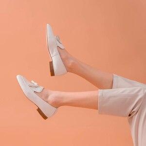 Image 4 - BeauToday mocassins pour femmes, à enfiler, en cuir de vache véritable, à franges bout carré, printemps automne, chaussures plates pour femme, fait à la main, 27147
