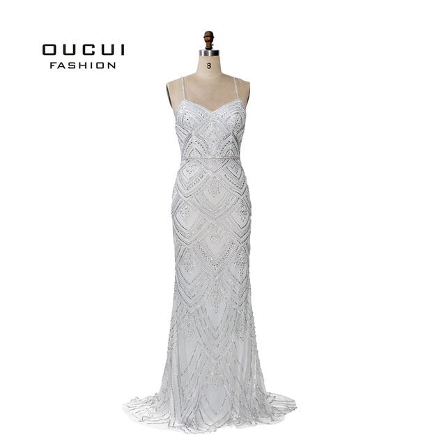 Dubai Luxury Sleeveless Mermaid Evening Gowns 2019 Newest Sexy Diamond Beading Gray Women Dresses Long Party Prom Dress OL103369 4