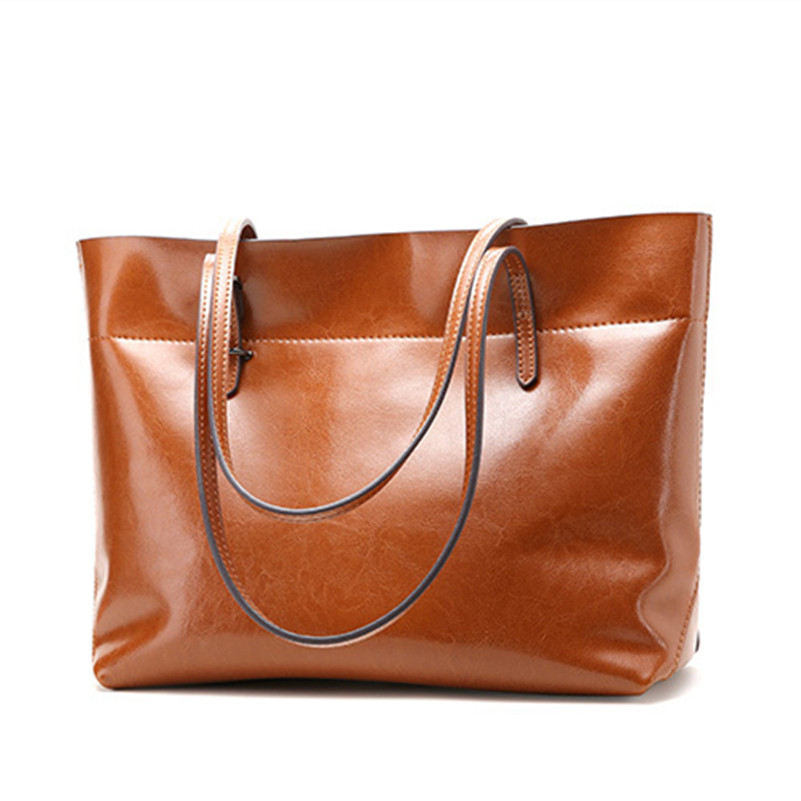 2018 New Simple Design Luxury Oil Waxing Cow Leather Women One Shoulder Bags Fashion Bag Big Bag Women Horizontal Handbags miwind 2017 new women bag cow oil wax leather handbags letter v shoulder bags female luxury casual totes simple fashion portable