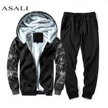 ASALI Men Fur Inside Set 2019 Winter Warm Tracksuit Mens Thick Fleece Jackets+Pants Camouflage Suit Sporting Hoodies Sweatshirts