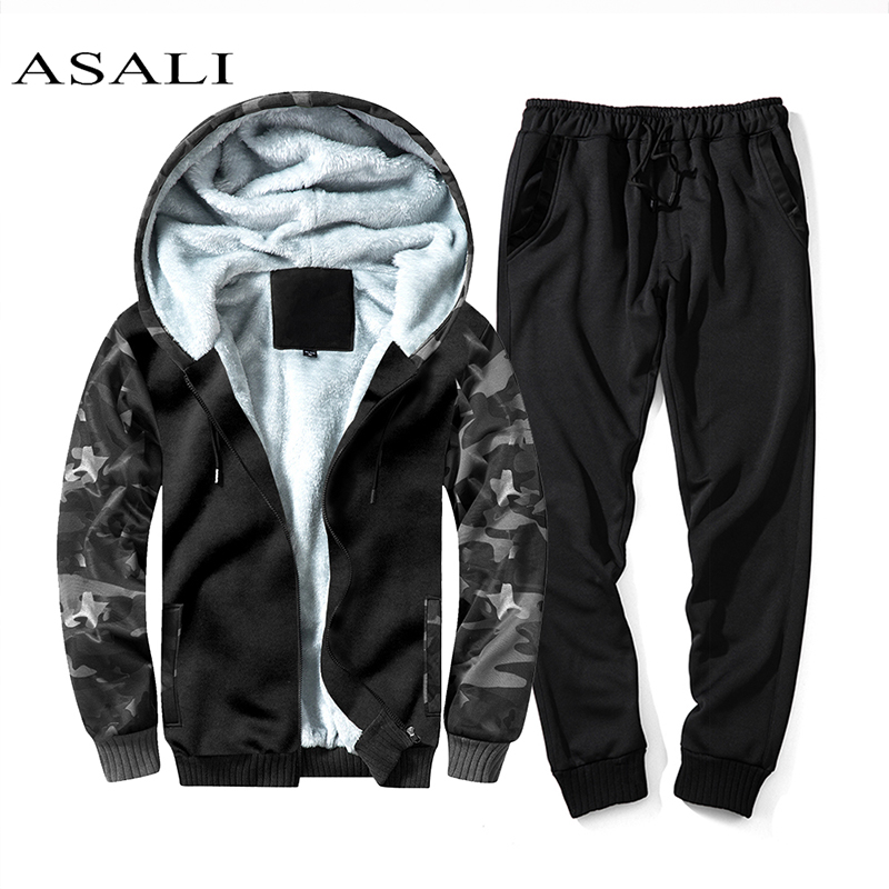 ASALI <font><b>Men</b></font> <font><b>Fur</b></font> Inside Set 2020 <font><b>Winter</b></font> Warm Tracksuit <font><b>Mens</b></font> Thick Fleece Jackets+Pants Camouflage Suit Sporting Hoodies Sweatshirts image