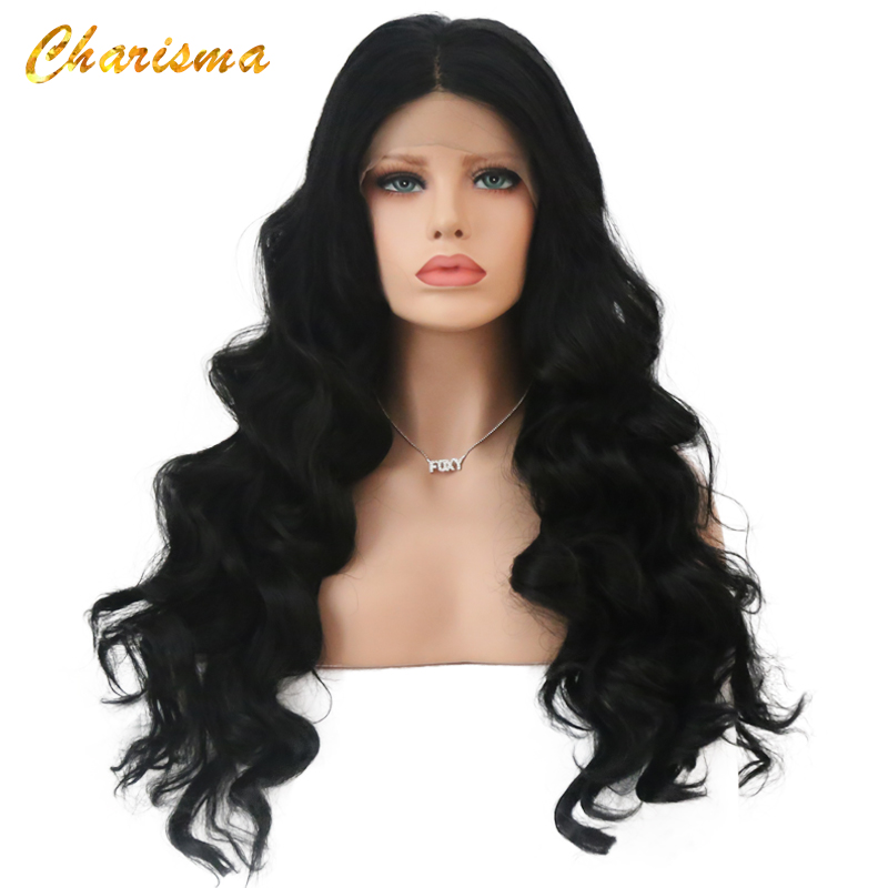Charisma Lace Front Wigs High Temperature Fiber Long Hair Body Wave Synthetic Lace Front Wig For