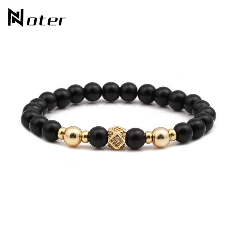 Noter Luxury CZ Paved Geometric Mens Bracelet Black Matte Beads Elastic Braslet For Male Hand Yoga Jewelry pulsera hombre